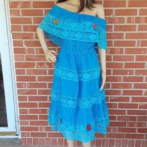 Vintage off shoulder Mexican style handmade dress